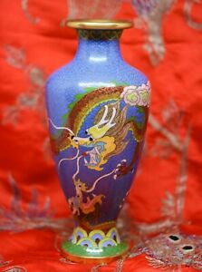 Vintage Chinese Cloisonne Dragon Vase 8 25 Inches Tall