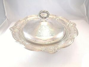 Large Repousse Silver Plate Entree Serving Bowl With Cover Heavy Glass Insert