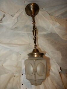 Mission Arts Crafts Brass Pendant Light Fixture W Frosted Glass Shade