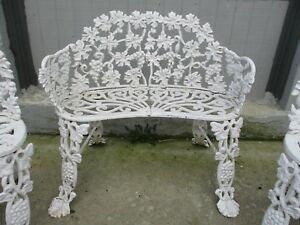 Vintage Cast Iron Victorian Grape Leaf 3 Garden Bench With Two Chairs Local
