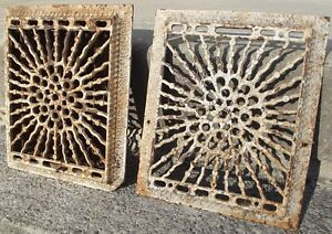 2 Antique Cast Iron Wall Grates Vent Salvage Louvers Reclaimed 8 X10 Registers