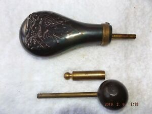 BLACK POWDER FLASK (Italy) WITH BALL STARTER AND VINTAGE T.C. POWDER MEASURE