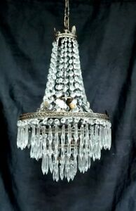 Antique French Empire Brass Crystal Large Basket Directorie Chandelier 1920s