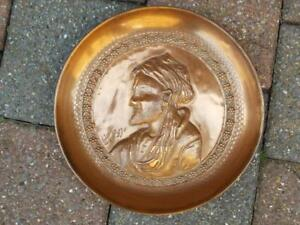 77 Antique Middle Eastern Signed Repousse Copper Dish