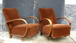 Pair Of Art Deco Armchairs Halabala Club Chairs Cocktail Chairs Vintage 1920s