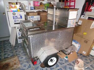 Mobile Hot Dog Cart Trailer Food Vending 4 Burners 2 Small Ice Box Etc
