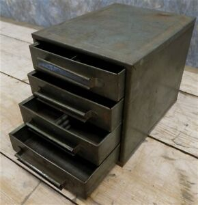 4 Drawer Metal Filing Cabinet File Vintage Storage Library Card Nut Bolt Parts Y