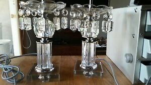 Antique Lamp Pair With 20 Vintage Cut Crystal Prisms Renovated