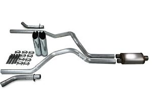 Chevy Gmc 1500 15 18 2 5 Dual Exhaust Kit Stainless Muff Slash Tips Corner Exit