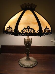 Awesome Antique Arts Crafts Table Lamp Cream Beige Bent Slag Glass Shades
