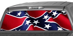 American Cnfdrt Flag Rear Window Graphic Perforated Decal Tint Sticker Truck