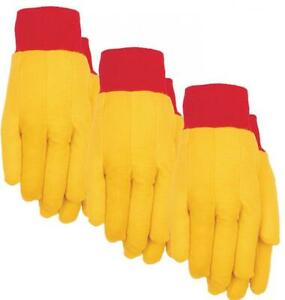 Midwest Gloves 2201p03 xl Mens Yellow Cotton Work Chore Glove X large 3 Pack