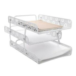 Crystallove White Metal Hollow 3 tier Magazine Holder Paper File Organizer