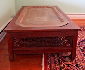 Ornate Carved Wooden Table With Inlaid Brass Tray