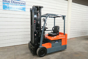 2015 Toyota 7fbeu20 4 000 Electric Forklift 36v Battery Quad Mast 4 Way