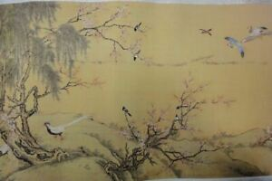 Very Long Old Chinese Scroll Hand Painting 100 Vivid Birds Shenquan Marks
