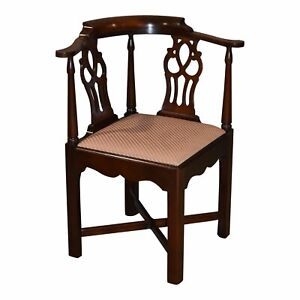 Vintage Solid Mahogany Chippendale Style Corner Chair