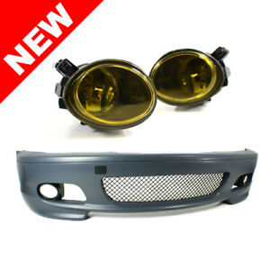 00 06 Bmw E46 3 series 2dr M tech Ii Style Front Bumper W Yellow Fog Lights