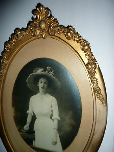Large Antique Gesso Barbola Roses Picture Frame Antique Victorian Hat