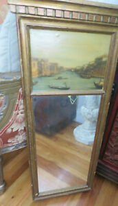 Vintage Italian Antique Wall Mirror With Venice Print