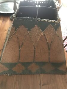 Antique Victorian Leather Like Heavy Paper Lamp Shade Arts And Crafts