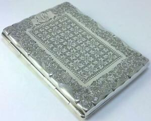Victorian Hallmarked Sterling Silver Silk Lined Card Case 1890