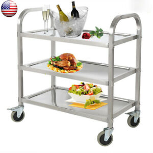 3tier Kitchen Stainless Steel Serving Cart Food Catering Rolling Utility Trolley
