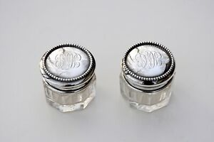 Sterling Silver Lid Small Glass Vanity Jars Antique Dresser Vintage