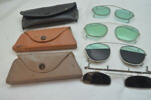 Vintage Welding Glasses Lot 4 Clip On Flip Up Half Lens Steampunk Sunglasses
