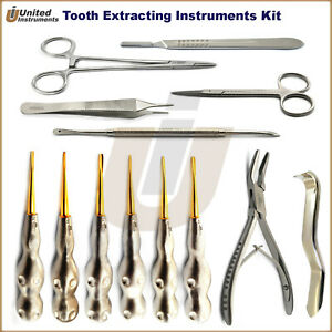 Dental Root Extraction Oral Surgery Kit Luxating Elevators Bone Forceps Scissor