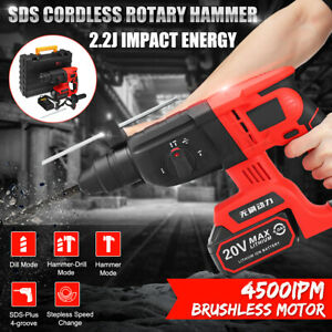 20v Sds Cordless Rotary Brushless Hammer 4500ipm Impact Lithium Drill 3 Function