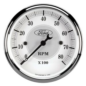 Ford Racing Tach 3 1 8 In Dach White Face