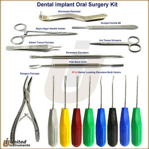 Dental Oral Extraction Tray Kit Tooth Periotome Root Elevators Dental Forceps