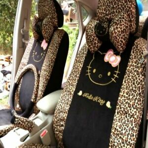 18 Pcs Hello Kitty Car Seat Cover Leopard Cushion Interior Styling Accessories