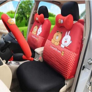 18 Pcs Summer Cartoon Car Seat Covers Cute Universal Auto Accessories Interior