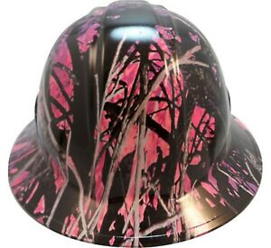 Wild side muddy Girl Pink Hydro Dipped Safety Full Brim Or Cap Style Hard Hats