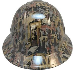 Wild side oilfield Camo White Hydro Dipped Safety Fb Or Cap Style Hard Hats