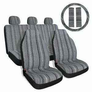 Baja Black Gray Saddle Blanket Car Seat Covers With Steering Wheel Cover Belt