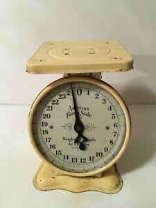 Vtg American Family Scale Kitchen Counter 25 Pound Butter Yellow Metal