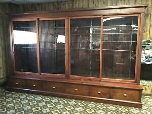Early 1900 S Antique Clothing Store Display Cabinet Glass Doors