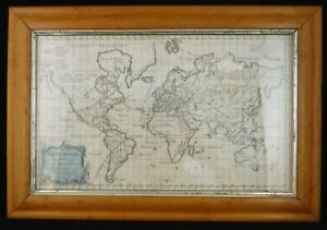 18th Cent Map Of The World Robert De Vaugondy On Mercator S Projection