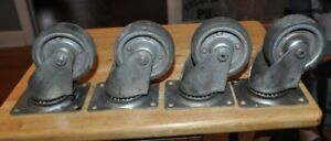 4 Vintage Four Inch Swivel Cold Forged Casters Wheels Industrial Heavy Duty