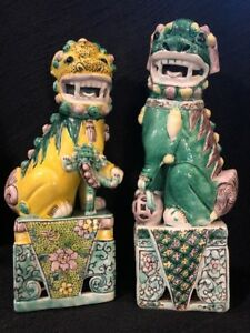 Antique Asian Chinese Foo Dogs Pair Ceramic Gold Rare Lions Figurines 10 Exc