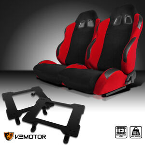 79 98 Ford Mustang Red Cloth Pvc Leather Racing Seats laser Welded Brackets