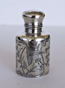 Antique Sterling Silver Perfume Scent Bottle Herons Butterflies Flowers