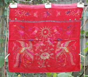 Antique Chinese Embroidery Embroidered Fabric Textile Panel 31 X 29