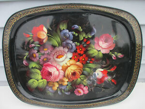 Vintage Hand Painted Floral Tole Toleware Tray 23 25 X18 Signed