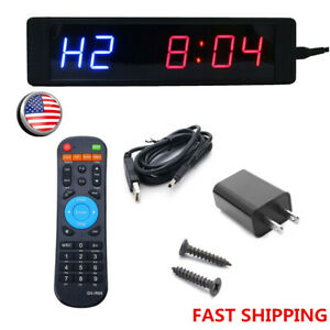 Led Programmable Crossfit Interval Timer Stopwatch Wall Clock W remote Fitness