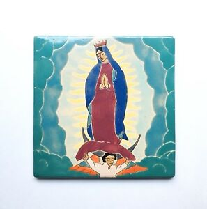 Rare San Jose Mission Pottery Tile 8 Our Lady Of Guadalupe Antique 1930s Texas