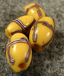 4 Original French Cross Glass Indian Trade Beads Yellow Fur Trade 1700 S
